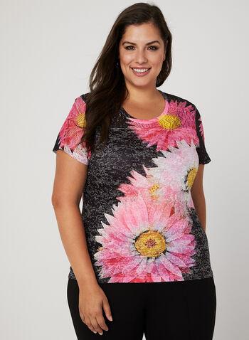 T-shirt fleuri à détails dentelle et strass, Multi, hi-res