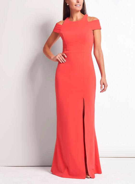 Cold Shoulder Crepe Knit Dress, Orange, hi-res
