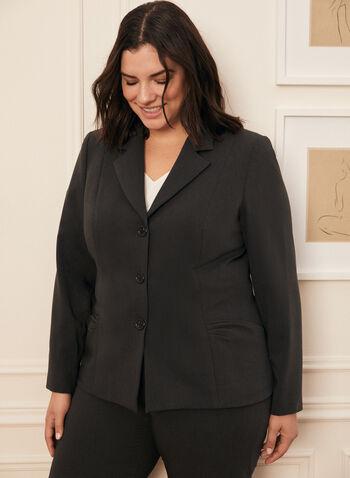 Blazer court boutonné , Gris,  fait au canada, veste, blazer, confort, look pro, bureau, automne hiver 2020
