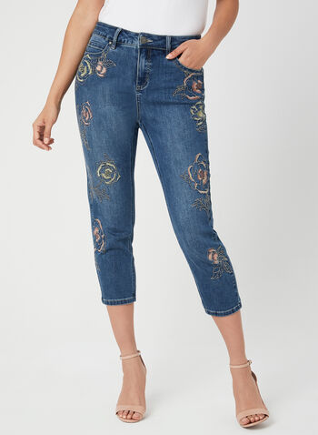 Modern Fit Denim Capri Pants, Blue, hi-res,  embroidered, slim leg, floral print, slim leg, spring 2019