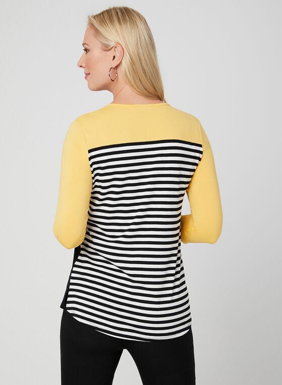 T-shirt rayé et blocs de couleurs, Noir, hi-res