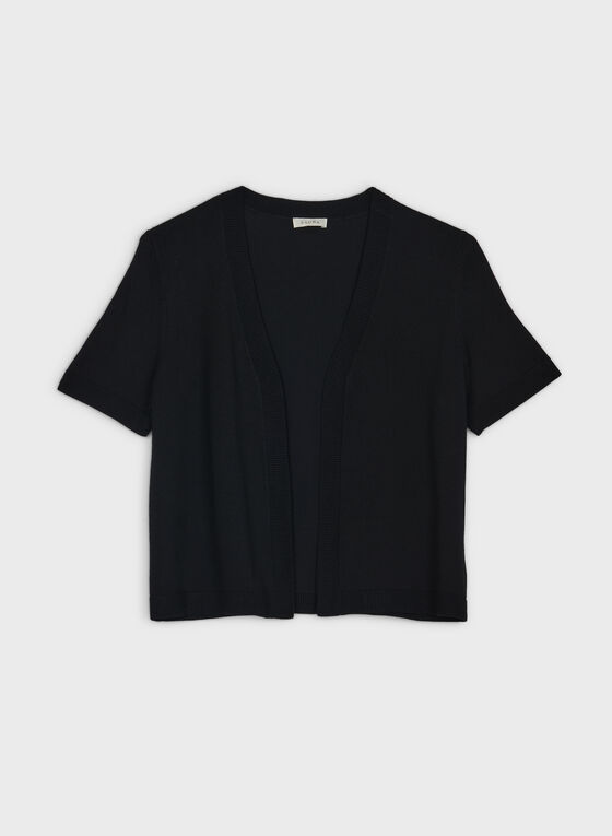 Short Sleeve Open Front Bolero, Black