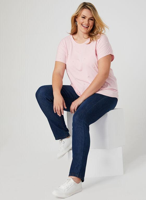 T-shirt à détails perles, Rose