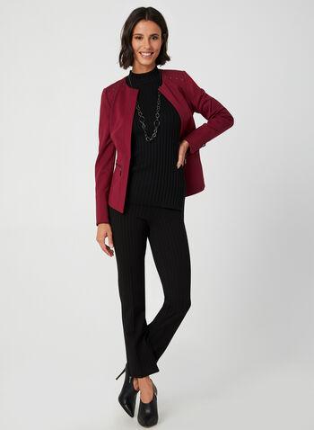 Blazer court à détails cloutés, Rouge, hi-res,  manches longues, poches, ajusté, structuré, automne hiver 2019