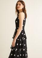 Dot Print Tiered Dress, Black