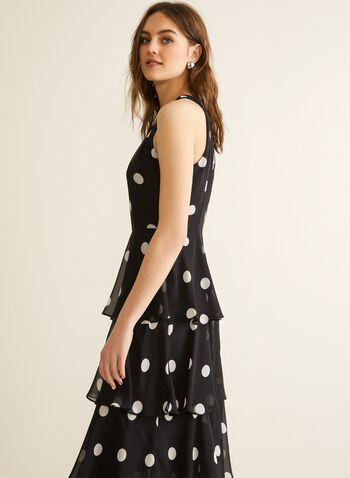 Dot Print Tiered Dress, Black,  spring summer 2020, sleeveless, polka-dot print, chiffon fabric, tiered chiffon, cleo neck