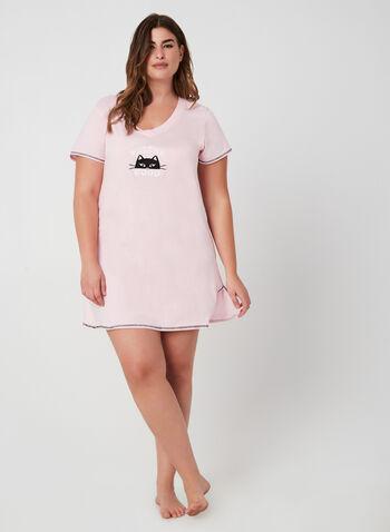 René Rofé - Chemise de nuit à appliqué chat, Rose, hi-res,  pyjama, chemise de nuit, manches courtes, chat, coton, automne hiver 2019