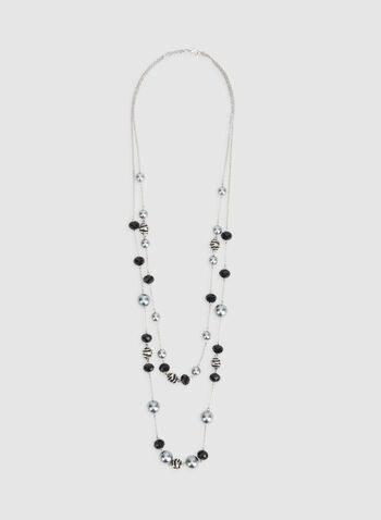 Double Strand Pearl Insert Necklace, Black,  double necklace, long necklace, pearl necklace