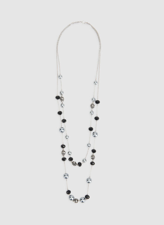 Double Strand Pearl Insert Necklace, Black