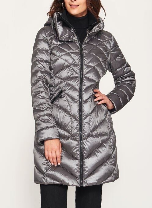 B by Bernardo - PrimaLoft® & Down Filled Packable Coat , Silver, hi-res