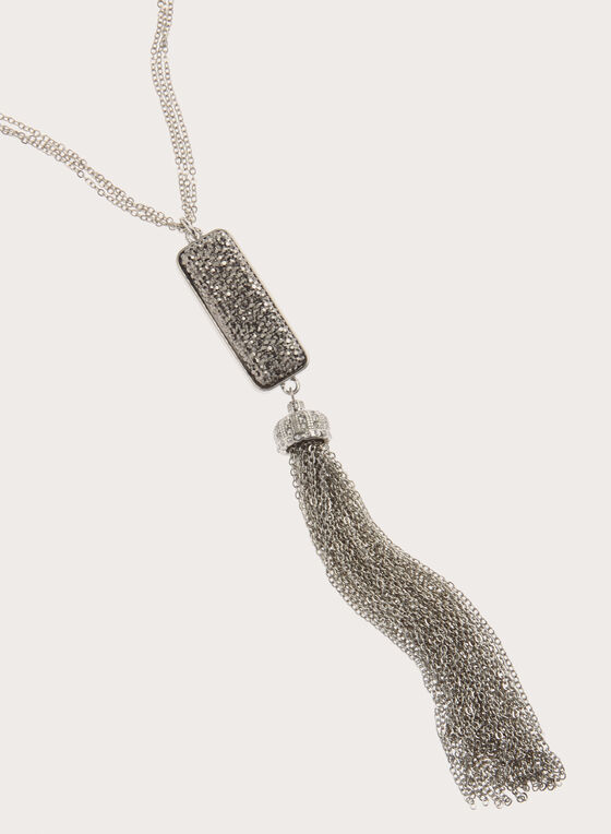 Pave Pendant & Tassel Necklace , Grey, hi-res