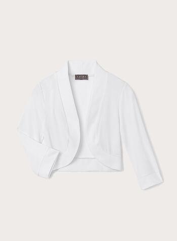 Open Front Jersey Bolero , White, hi-res