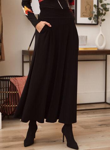 Jupe maxi à enfiler , Noir,  jupe, maxi, facile à enfiler, poches, automne hiver 2020