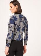 Cardigan ouvert à motif floral, Bleu, hi-res