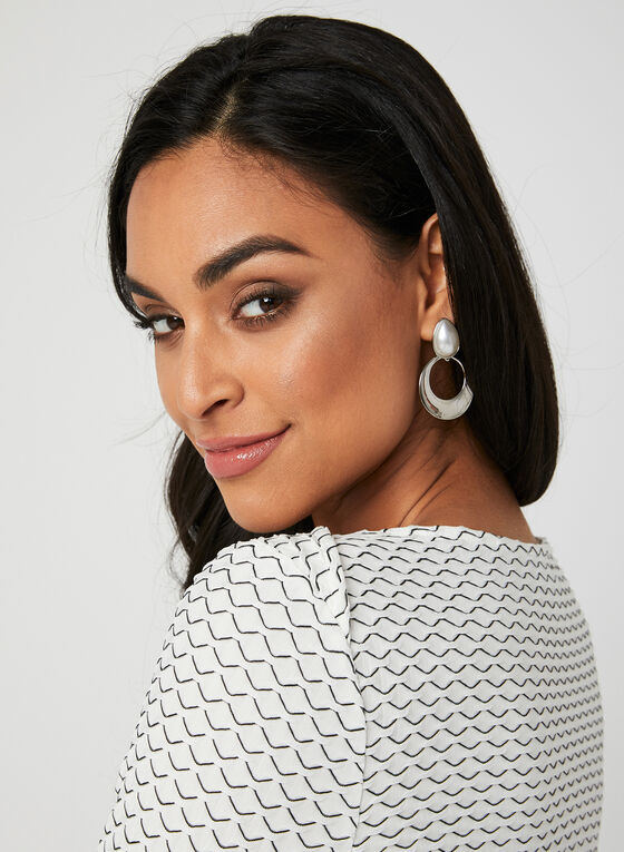 Textured Boat Neck Top, White