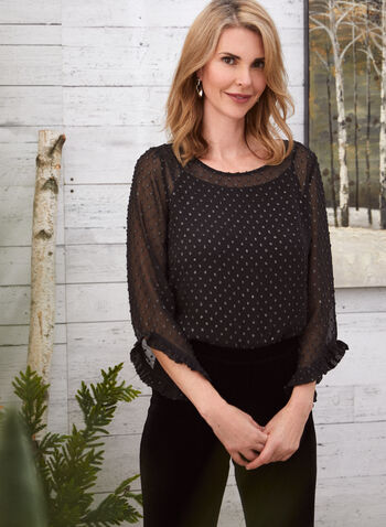 Ruffle Detail Embellished Blouse, Black,  top, chiffon, embellished, metallic, ruffled, 3/4 sleeves, fall winter 2020