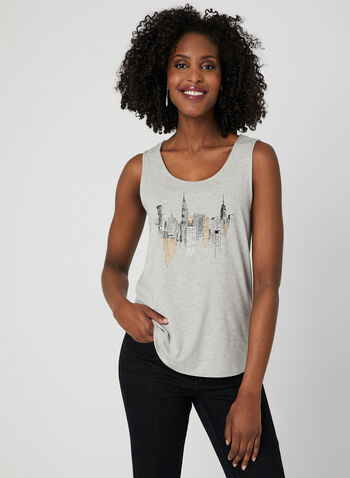 Embellished Sleeveless Top, Grey, hi-res