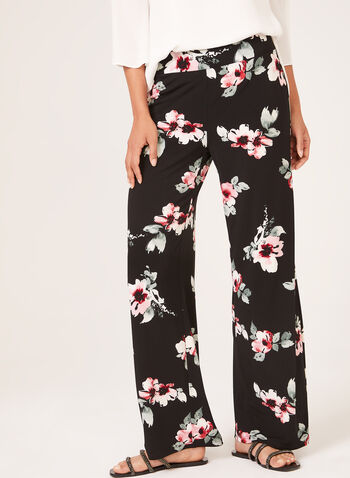 Pantalon pull-on floral à jambe large , Noir, hi-res