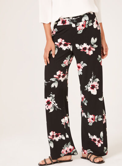 Pantalon pull-on floral à jambe large