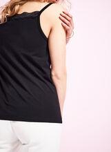 Lace Trim Cotton Cami, Black, hi-res