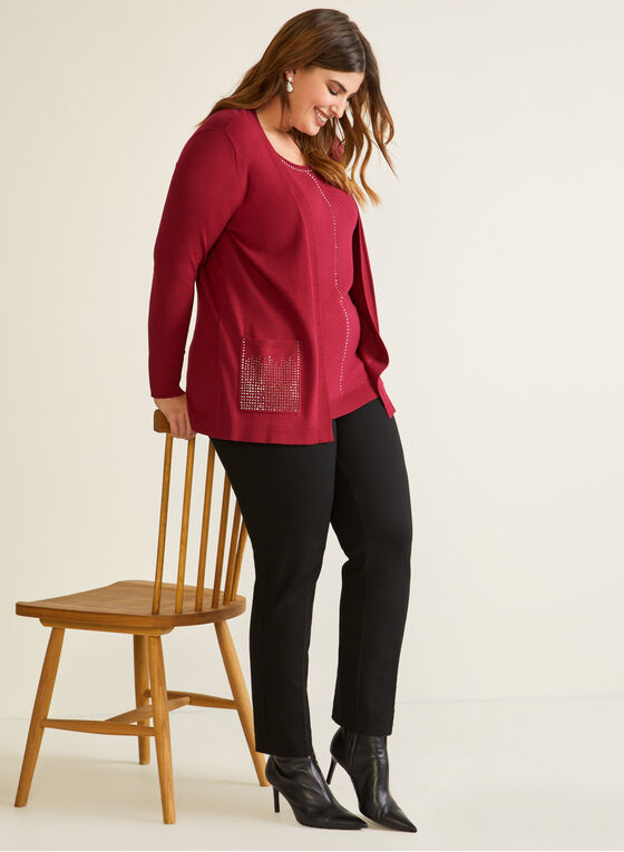 Cardigan With Integrated Tank, Purple