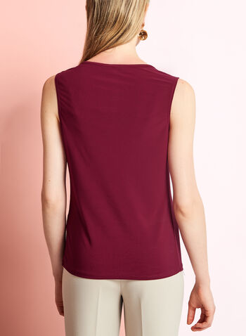 Sleeveless Keyhole Knit Blouse, Red, hi-res