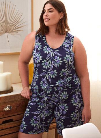 Ensemble pyjama à motif floral, Bleu,  ensemble pyjama, camisole, short, fait au canada, encolure arrondie, bretelles larges, motif, floral, fleuri, à enfiler, printemps été 2021