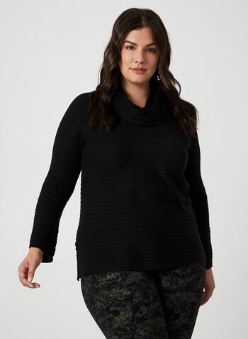 Cowl Neck Sweater, Black,  sweater, knit, cowl neck, long sleeves, ribbed sweater, fall 2019, winter 2019
