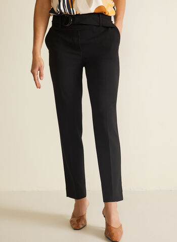 Belted Slim Leg Pants, Black,  pants, slim leg, belted, pockets, pleats, spring summer 2020