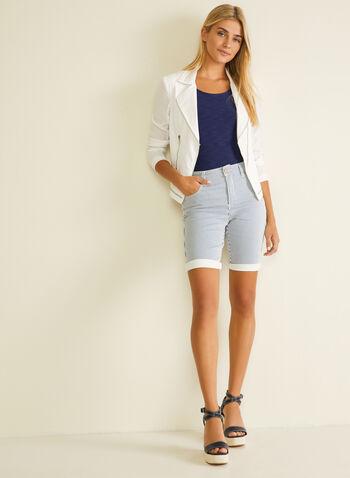 Stripe Print Denim Bermuda Shorts, Blue,  bermuda, shorts, pull-on, stripe print, denim, spring summer 2020