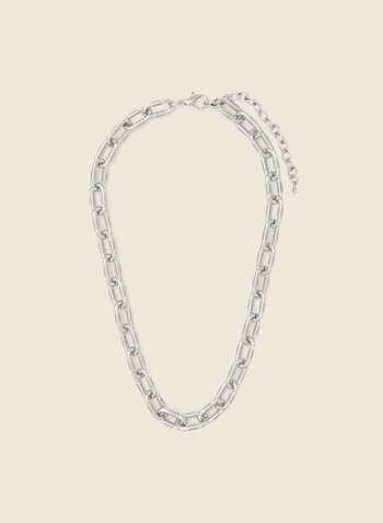 Oval Link Chain Necklace, Silver,  jewellery, accessories, link, chain, oval, textured, metallic, spring summer 2021