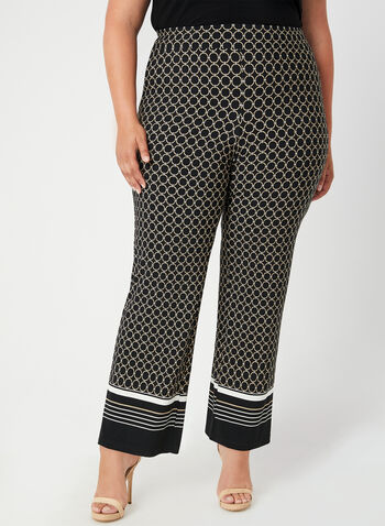 Geometric Print Wide Leg Pants, Black, hi-res,  jersey, pull-on modern fit, stretchy, fall 2019, winter 2019