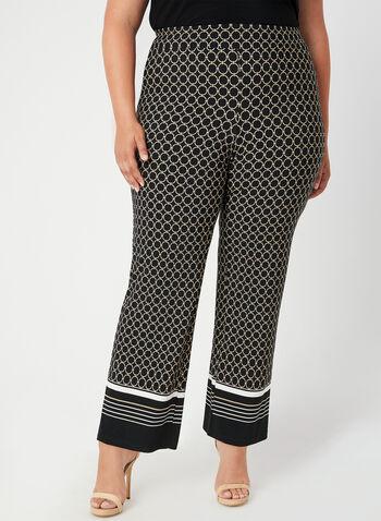 Geometric Print Wide Leg Pants, Black, hi-res