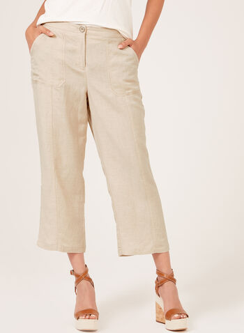 Linen Blend Straight Leg Capris, Brown, hi-res