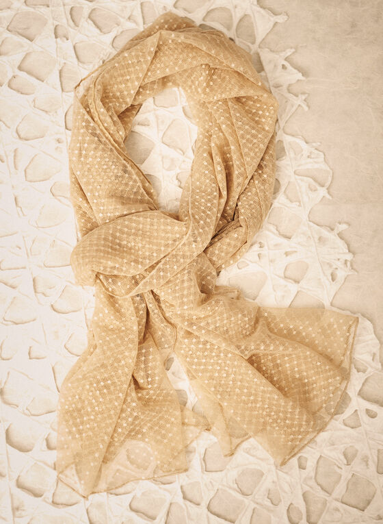Dotted Mesh Wrap, Off White