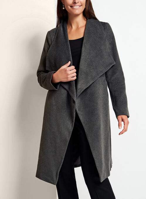 Open Cascade Front Duster Coat, Grey, hi-res