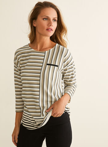 3/4 Sleeve Striped T-shirt , Multi,  t-shirt, striped, 3/4 sleeves, faux pockets, Spring 2020