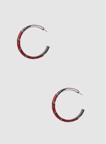 Boucles d'oreilles à anneaux ouverts, Rouge,  texturé, automne hiver 2019, epoxy