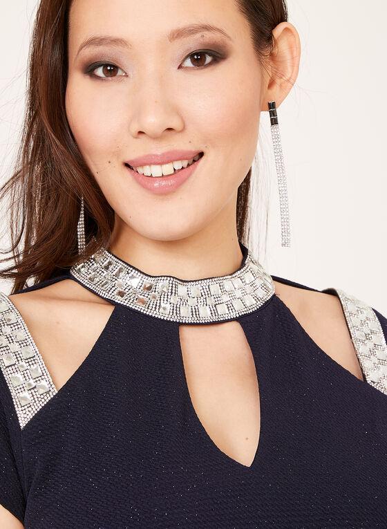 Marina - Robe fourreau ajourée au col bijou et strass, Bleu, hi-res