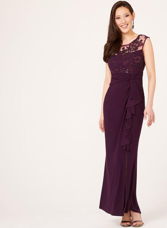 Marina - Robe drapée avec haut en dentelle et sequins, Violet, hi-res