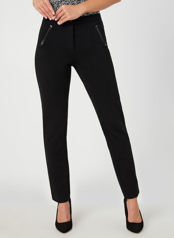 Signature Fit Straight Leg Pants, Black, hi-res,  faux leather, vegan, straight leg, high rise, comfort waist, fall 2019, winter 2019
