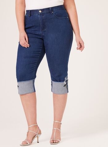 Simon Chang - Signature Slim Leg Denim Capris, Blue, hi-res