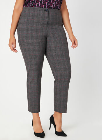 Modern Fit Straight Leg Pants, Grey,  mid rise, shorter leg, shaped hips, contour waist, pull-on, fall 2019, winter 2019, plaid print
