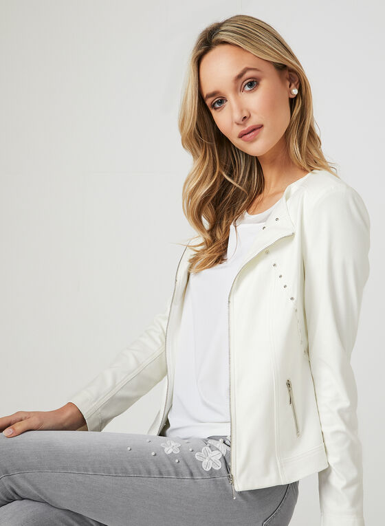 Studded Faux Leather Jacket, Off White