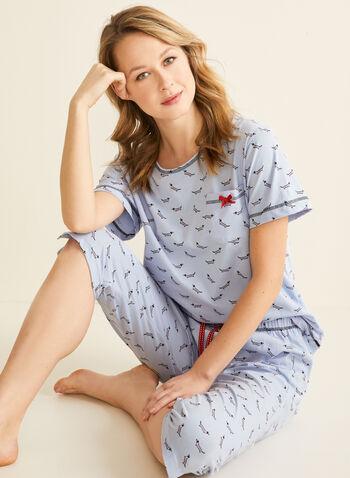 Karmilla Lingerie - Pyjama 2 pièces motif chiens, Rouge,  pyjama, t-shirt, capri, chiens, coton, printemps été 2020