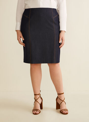 Denim-Like Skirt, Blue,  spring summer 2020, denim, skirt, pencil, straight cut