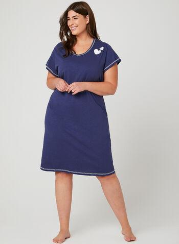 Bellina - Contrast Stitch Nightgown, Blue, hi-res