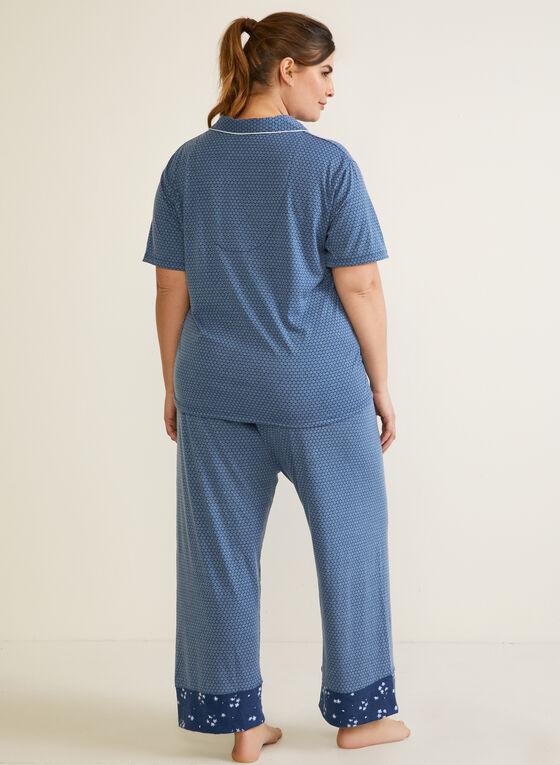 Ensemble pyjama à motif fleurs accent, Bleu