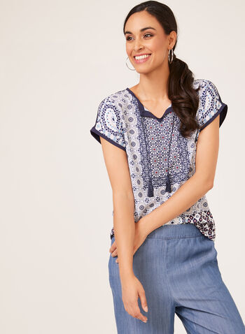 Mosaic Print Henley T-Shirt, Blue, hi-res