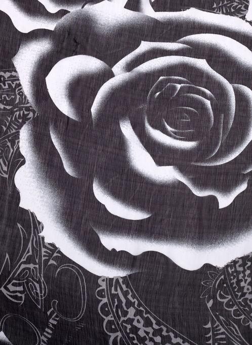 Foulard à motif floral, Noir, hi-res